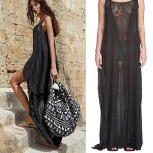 Elan black gauzy crochet coverup dress boho